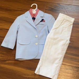 Boys suit blue jacket white pants